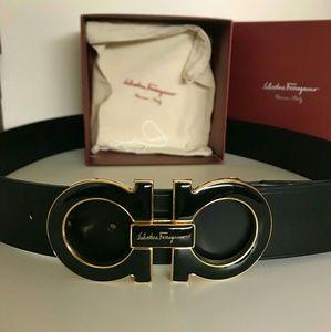 Other - Authentic black Ferragamo belt gold big buckle